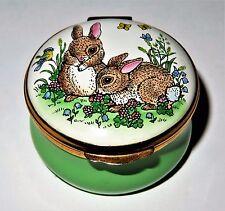 Crummles English Enamel Box - Bunny - Rabbits & Bird & Flowers & Fairy - Mib