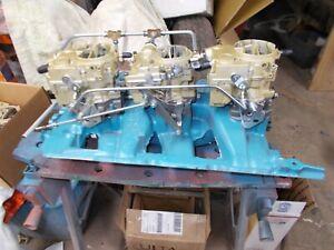 59-65 PONTIAC TRI POWER SET 3 REBUILT CARBS-NEW PROGRESSIVE LINKAGE-FUEL LINES!!