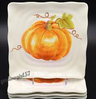 Maxcera Watercolor Pumpkin Patch 4 SALAD PLATES Halloween, Square, NEW