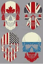 "(#39) 10"" x 6.5"" US, CANADA, RUSSIAN, or UK FLAG SKULL iron on heat transfer"