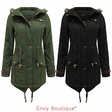 Ladies Womens Faux Fur Oversized Hood Fishtail Parka Jacket Military Coat 8-22