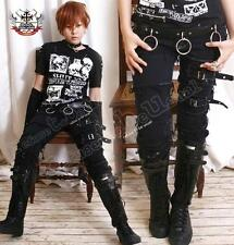 Punk Rock EMO Distressed Buckle Stretch Cigarette Jeans Fray Edge Patch L/XL