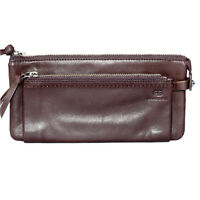 New Womens Wallet Smooth Genuine Italian Leather Zipper Pouch Wallet Deep Brown
