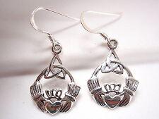 Silver Dangle Corona Sun Jewelry Claddagh Celtic Infinity Earrings 925 Sterling