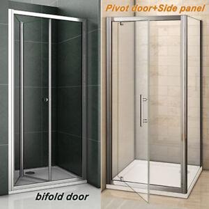 Aica Bi fold Pivot Shower Door Enclosure and Tray Walk in Glass Screen Cubicle