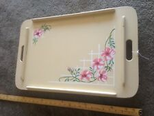 Vtg Folding Wood Hand  Ptd Flowers Breakfast in Bed Adjustable TV Tray Table