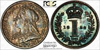Great Britain Silver 1898 1 Penny PCGS PL63 PROOFLIKE RAINBOW TONED KM# 775