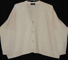 Eskandar Soft Beige Hand Loomed Iconic Cotton Hemp Cardigan Sweater O/S
