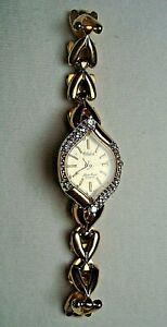 Lucien Piccard DUFONTE diamond bezel gold tone ladies wrist watch
