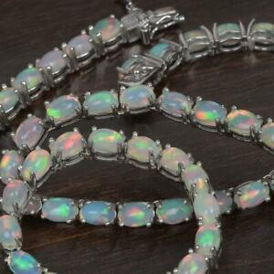 Opal Tennis Necklace in Platinum Over Sterling Silver, Ethiopian Opal Gemstone