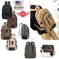 Men Retro Vintage Canvas Backpack Rucksack Travel Sports School Hiking Bag M12