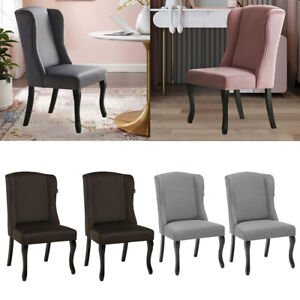 2Pcs Velvet Queen Anne Wingback Dining Chair Victoria Accent Side Chairs Kitchen