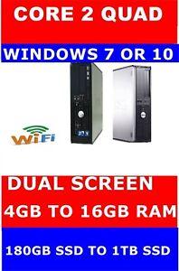 DELL COMPUTER PC QUAD CORE DESKTOP WINDOWS 10 7 16GB RAM & 180GB - 1TB SSD