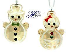Gingerbread Snowman Couple Ornaments 2019 Holiday Xmas Swarovski Crystal 5464885