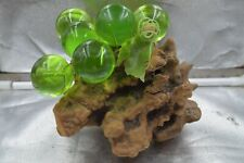 Vintage Acrylic Grapes on Driftwood Green 1960 Table Centerpiece Plastic Leaves
