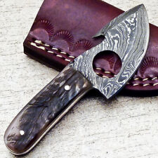 """NEW CUSTOM HANDMADE DAMASCUS 4.25"""" MINI HUNTING KNIFE RAM HORN HANDLE - UT-3582"""
