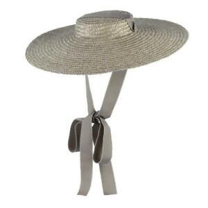 Wide Brim Flat Top Straw Hat Summer Hats For Women Ribbon Beach Cap Boater Fashi