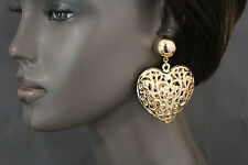 Women Fashion Earrings Set Urban Hip Hop Gold Metal Big Heart Love Retro Jewelry