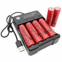 6pcs 18650 Battery 6000mAh 3.7V Li-ion Rechargeable & USB Charger For Flashlight