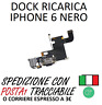 CONNETTORE DOCK FLAT DI RICARICA JACK AUDIO MICROFONO PER APPLE IPHONE 6 NERO