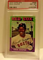 1975 Topps Mini Card #489 Cecil Cooper Red Sox PSA 8 nm-mt