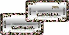 2 Camo-Girl Chrome Plastic License Plate Frames + Screw Bolt Caps for Car-Truck