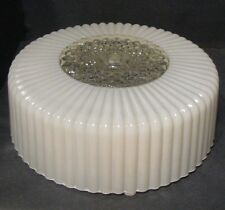 Retro White Glass Lamp Shade Ceiling Light MCM Round Drum Flush Mount