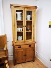 Montreal Solid Oak Small Glazed Dresser Top Set / Sideboard and Glazed Cabinet