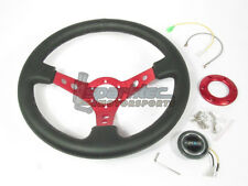 """NRG 350mm Sport Leather Steering Wheel 3"""" Deep Black with 3 Spoke Center In Red"""