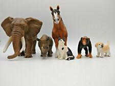 Schleich 6 piece Lot Of Animal Figures Horse Cat Puppy Monkey Rhino & Elephant