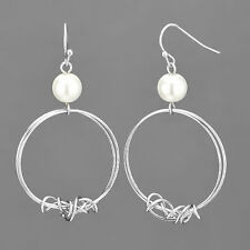 Rhodium Silver Wire Circle Shaped White Pearl Dropped Fish Hook Style Earrings