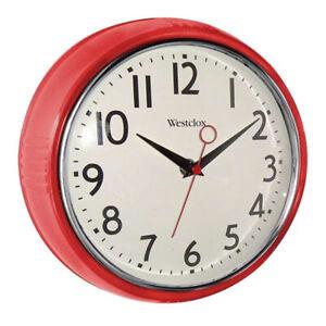 "Westclox 1950s Retro Analog 9.5"" Wall Clock (Red) 32042R"