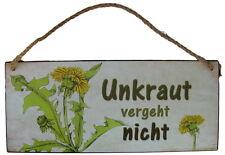"""Schild Metall Groß """"Unkraut vergeht nicht"""" 30 x 13 cm mit Sisal Aufhänger"""