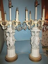 Large Pair Bisque Porcelain Cherub Candelabra Table Lamp PARIAN Vintage Crystal