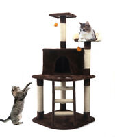 """48"""" Brown Cat Tree Play House Tower Condo Furniture Scratch Post Basket"""