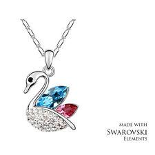 Made with Swarovski Elements Crystal Blue Pink Swan Pendant Necklace Gift Bag