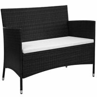 vidaXL Garden Bench Poly Rattan Wicker Black Outdoor Seat Chair Patio Dining