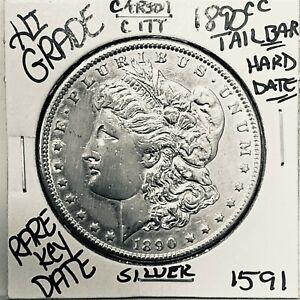 1890 CC MORGAN SILVER DOLLAR HI GRADE GENUINE U.S. MINT RARE KEY COIN 1591