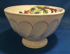 Molly Hatch Cereal Bowl Floral Pattern Red Trim