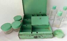 Vintage metal beauty box glass perfume bottles jars powder puff vanity set
