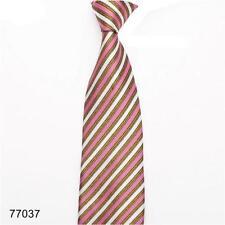 100% Pura Seta Uomo Cravatta con Rosa Oro & Bianco Design a righe diagonali