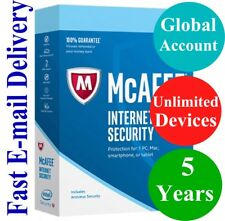 McAfee Internet Security UNLIMITED DEVICE 5 YEAR (Account Subscription) 2020