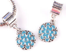 2pcs Sky Blue painted flower big hole beads European charm pendant bracelet A842