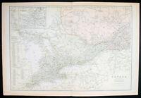 1870 John Bartholomew Large Antique Map of Ontario & Quebec, Canada