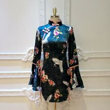 Womens Sexy Bodycon Short Cheongsam Dress Bell Sleeve Chinese Style Qipao Party