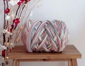 Melange: white, pink, grey* Merino Wool Giant Yarn Arm Knitting, 100 g - 4 kg