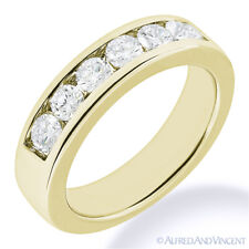 Round Cut Moissanite Channel Setting 7-Stone Ring 14k Yellow Gold Wedding Band