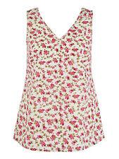 Anthology ladies vest top blouse plus size 26 ivory purple floral V neck