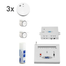 3 x Wireless Smoke Detector Set with Wireless Indoor Siren Fire Alarm System