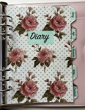 Filofax A5 Organiser Planner - Labelled Vintage Rose Dividers - Fully Laminated